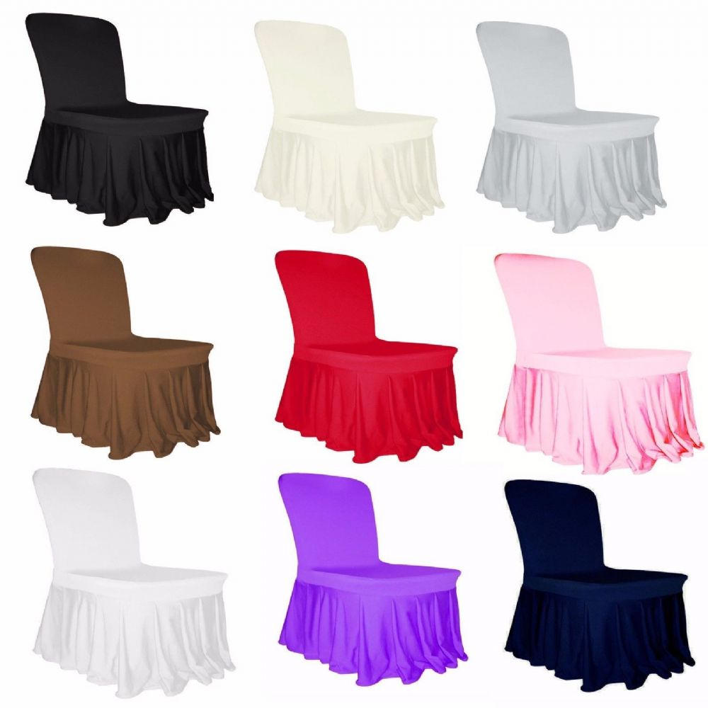 Spandex Lycra Skirt Chair Cover for Wedding Banquet Reception Party Event UK lot